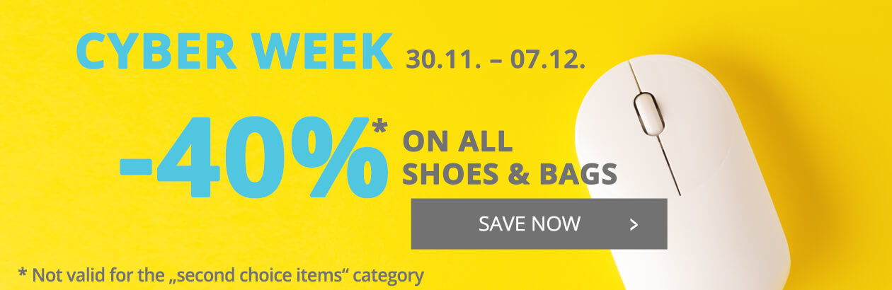 Cyber Week SALE 40% discount on all shoes and bags